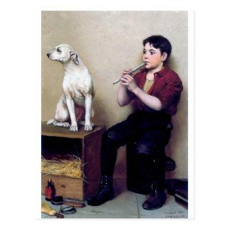 Cartão Postal Calce o menino do brilho que joga a flauta e o seu