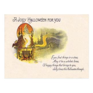 Cartão Postal Caldeirão da bruxa da coruja da Lua cheia do