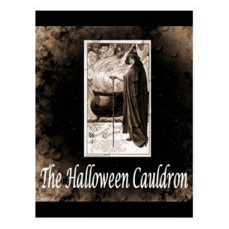 Cartão Postal Caldeirão do Dia das Bruxas do vintage