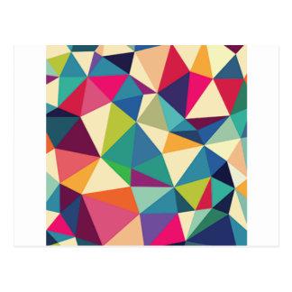 Cartão Postal Caleidoscópio geométrico colorido