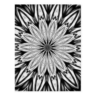Cartão Postal Caleidoscópio preto e branco