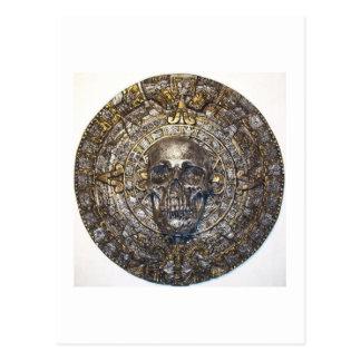 Cartão Postal Calendário asteca/maia do guerreiro do crânio