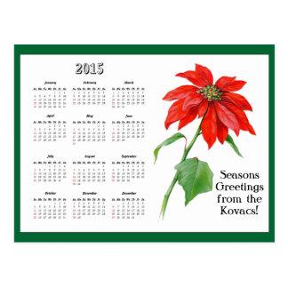 Cartão Postal Calendário da flor da poinsétia do natal vintage