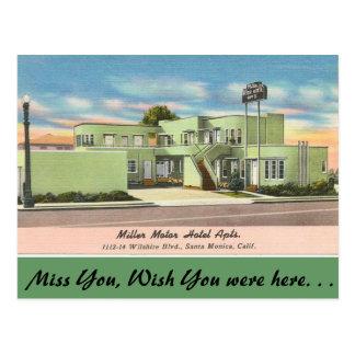 Cartão Postal Califórnia, apartamentos do hotel de motor de
