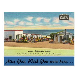 Cartão Postal Califórnia, motel dos Palisades de Pismo