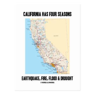 Cartão Postal Califórnia tem a inundação do fogo do terremoto de