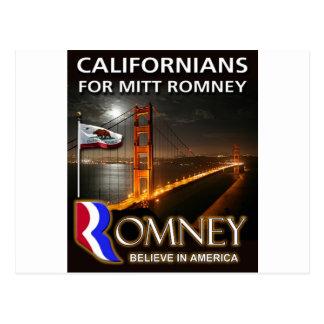 Cartão Postal Californianos para Mitt Romney 2012