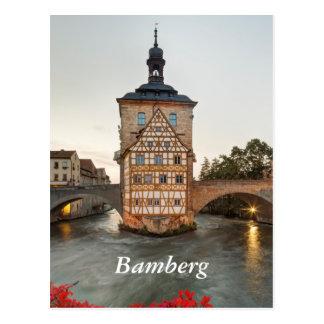 Cartão Postal Câmara municipal de Bamberga e ponte velhas de