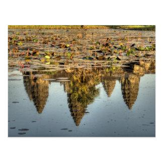 Cartão Postal Cambodia, Angkor Wat. Reflexão do templo