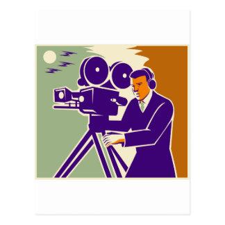Cartão Postal Câmera de filme video do vintage do grupo de filme