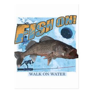 Cartão Postal Caminhada em walleye da água