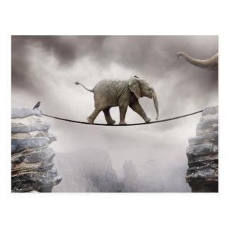 Cartão Postal Caminhadas do elefante do bebê o Tightrope