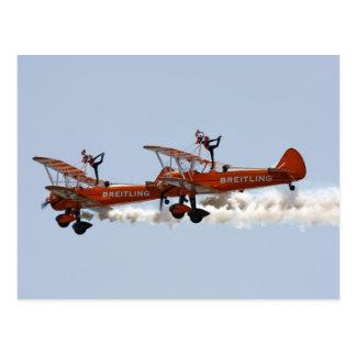 Cartão Postal Caminhantes aerobatic da asa do biplano