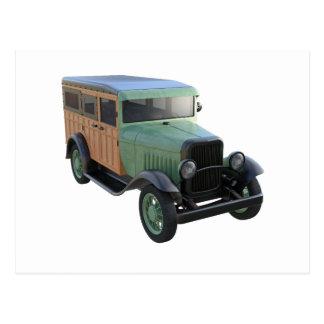 Cartão Postal Caminhão arborizado verde clássico