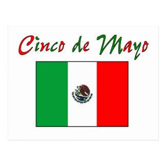 Cartão Postal Camisa & presentes da bandeira mexicana de Cinco