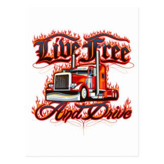 Cartão Postal Camisa viva livre e da movimentação do camionista