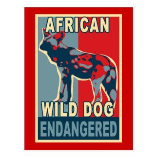 Cartão Postal Camiseta africano psto em perigo do pop art do cão