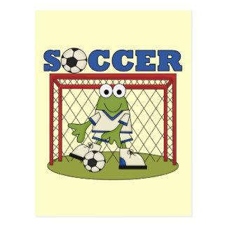 Cartão Postal Camiseta e presentes do Goalie do futebol do sapo