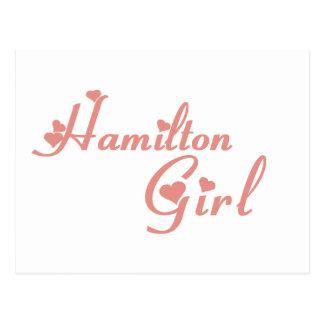Cartão Postal Camisetas da menina de Hamilton