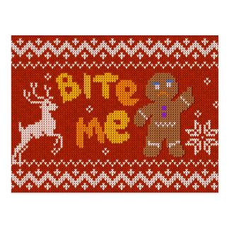 Cartão Postal Camisola feia do Natal: Morda-me homem de