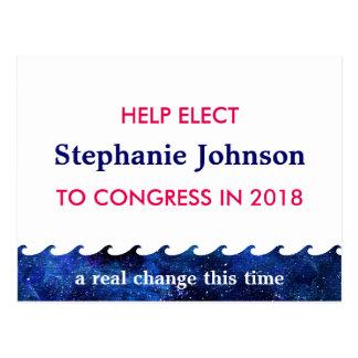 Cartão Postal Campanha eleitoral azul 2018 da onda personalizada