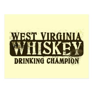 Cartão Postal Campeão do bebendo do uísque de West Virginia