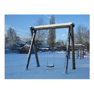 Cartão Postal Campo de jogos na neve