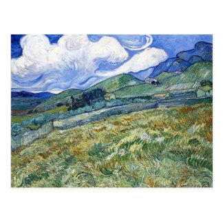 Cartão Postal Campo de trigo com as montanhas por Vincent van