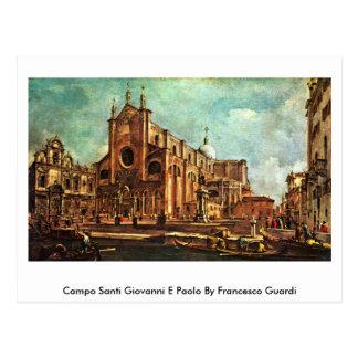 Cartão Postal Campo Santi Giovanni E Paolo por Francesco Guardi