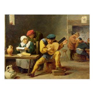 Cartão Postal Camponeses que fazem a música em uma pensão,