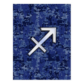 Cartão Postal Camuflagem de NavyDigital do símbolo do zodíaco do
