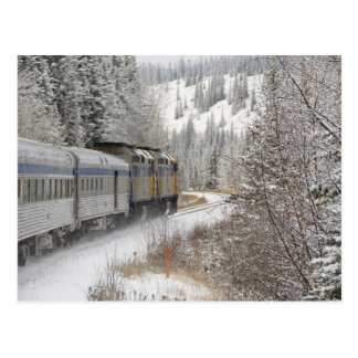 Cartão Postal Canadá, Alberta. ATRAVÉS do trem da neve do trilho