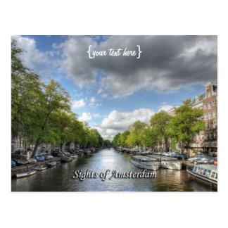 Cartão Postal Canal de Wolvenstraat/Singel, vistas de Amsterdão