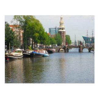 Cartão Postal Canal em Amsterdão central