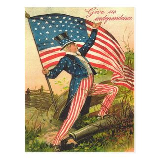 Cartão Postal Canhão do campo de batalha do tio Sam da bandeira