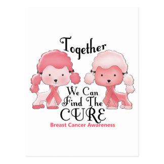 Cartão Postal Caniches cor-de-rosa junto 2 do cancro da mama