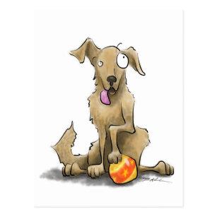 Cartão Postal Cão com uma bola