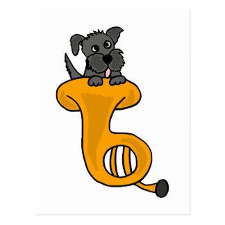 Cartão Postal Cão de filhote de cachorro cinzento XY em uns
