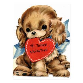 Cartão Postal Cão de filhote de cachorro do vintage com