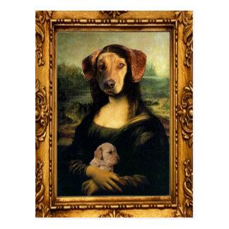 Cartão Postal Cão de Mona Lisa - Golda Lisa - retrato famoso