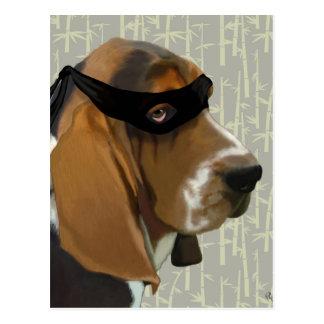 Cartão Postal Cão de Ninja Basset Hound