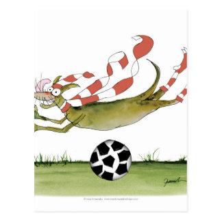 Cartão Postal cão do futebol dos vermelhos