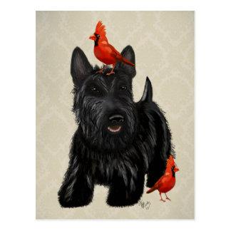 Cartão Postal Cão do Scottie e pássaros vermelhos