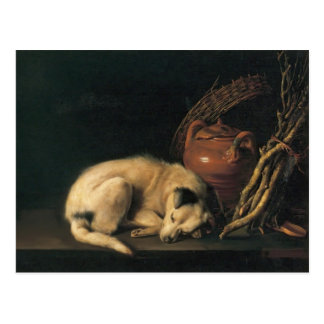 Cartão Postal Cão do sono de Gerrit Dou A com pote do Terracotta