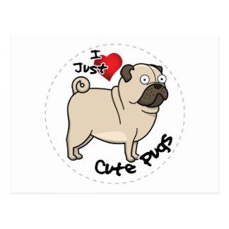 Cartão Postal Cão engraçado & bonito adorável feliz do Pug