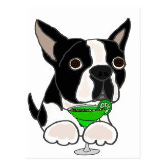 Cartão Postal Cão engraçado de Boston Terrier que bebe Margarita