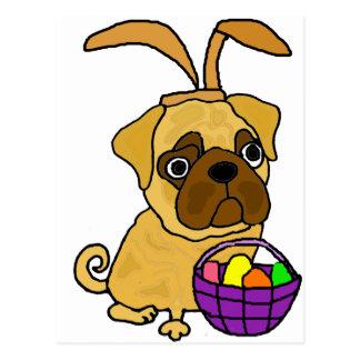 Cartão Postal Cão engraçado do Pug com orelhas do coelhinho da