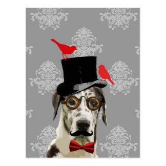 Cartão Postal Cão engraçado do steampunk