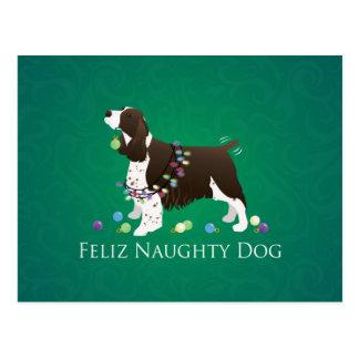 Cartão Postal Cão impertinente de Feliz do cão do Spaniel de