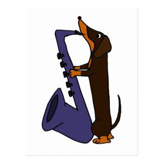 Cartão Postal Cão impressionante do Dachshund que joga o